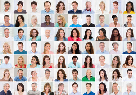 Collage Of Smiling multiethniques gens Portraits et des visages Banque d'images - 70308537