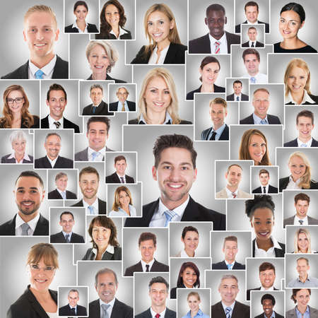 group of workers: Collage Of Smiling Diverse Business Men And Women On Gray Background