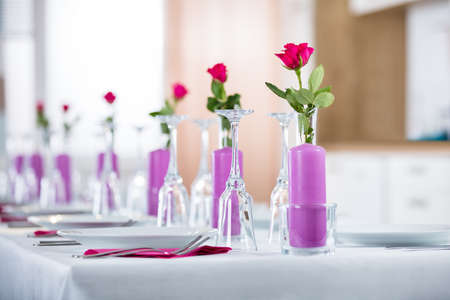 Beautiful Wedding Setting With Flower On Table Stock Photo