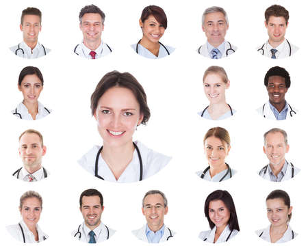 staff: Collage Of Diverse Smiling Doctors Hospital Team