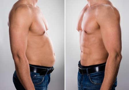 Primer plano de un hombre antes y después de perder grasa en el fondo gris Foto de archivo