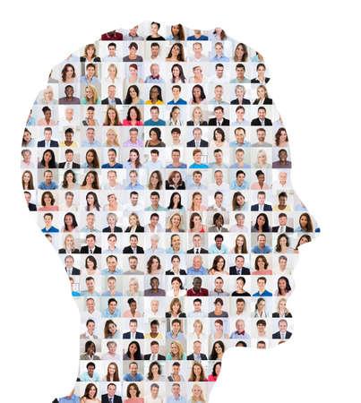 hombres maduros: Superpuesto Collage de personas en cara humana sobre fondo blanco