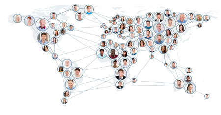 ネットワークと世界地図上の通信の概念を持つ人々 のコラージュ。グローバル ビジネス コンセプト 写真素材