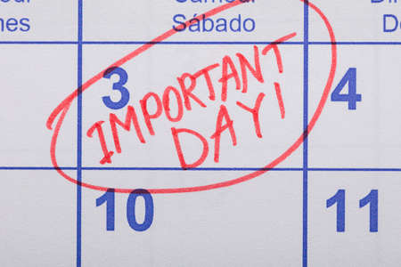 important reminder: Close-up Of Important Day Reminder Written On Calendar Stock Photo
