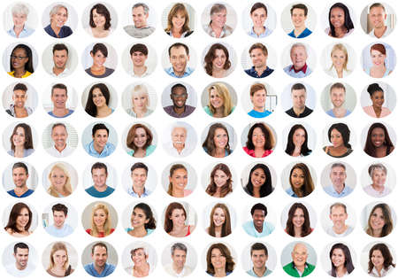 Collage Of Smiling Multiethnic People Portraits And Faces photo