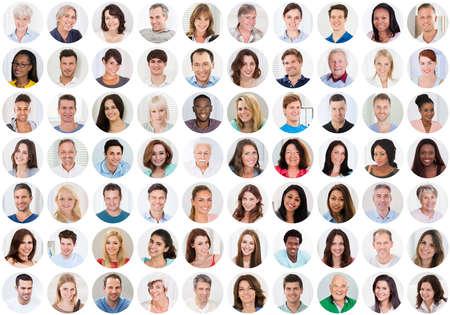 Collage Van Glimlachende Multi-etnische Mensen Portretten en gezichten Stockfoto