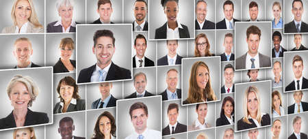 Portraits Collage Of Smiling Diverse Business People On Gray Background photo
