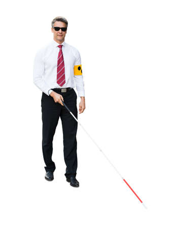 Portrait Of A Blind Man Wearing Yellow Arm Band And White Stick On White Background