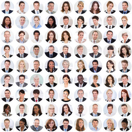 Collage Of Diverse Multi-ethnic And Mixed Age Smiling Business People. Team Diversity Concept photo