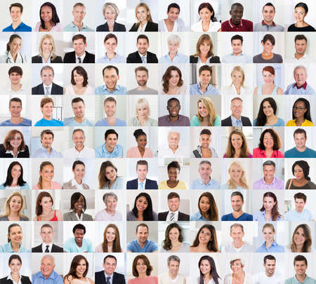 Collage Of Diverse Multi-ethnic And Mixed Age Smiling Casual People Group