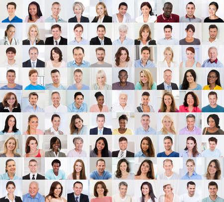 Collage de diversa edad multiétnica y mixta sonriendo Grupo de personas ocasional Foto de archivo - 71176917
