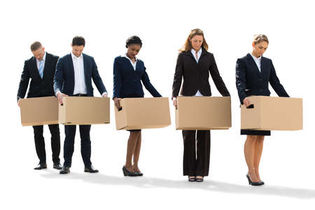 unemployed: Unemployed People Standing With Cardboard Boxes After Layoff. Isolated On White Stock Photo