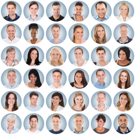 Collage Of Diverse Multi-ethnic And Mixed Age Smiling People Group On Blue Background photo