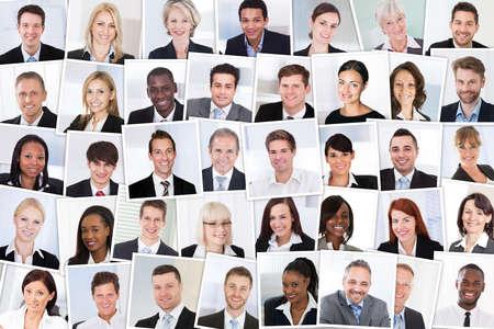 다민족적인 비즈니스 사람들이 그룹 미소의 콜라주