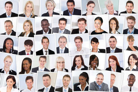Collage Of Smiling Multiethnic Business People Group Foto de archivo