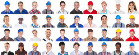 group of workers: Group Of Professional Workers In A Row On White Background. Doctors, Nurses and Engineers