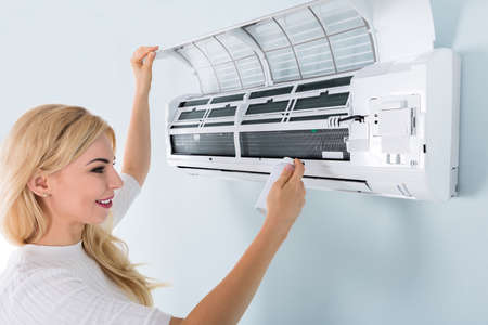 humidifier: Young Woman Cleaning Air Conditioner With Spray Bottle At Home