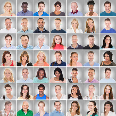Collage Of Casual People On Gray Background With Different Multi Ethnicity photo