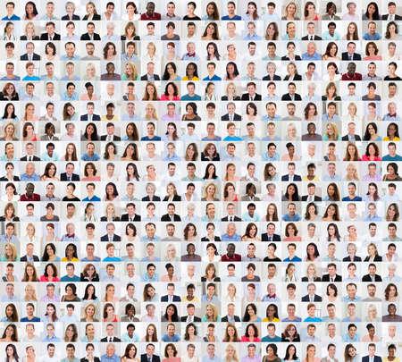 Collage van verschillende multi-etnisch en Gemengde leeftijdscategorie lachende mensen Stockfoto