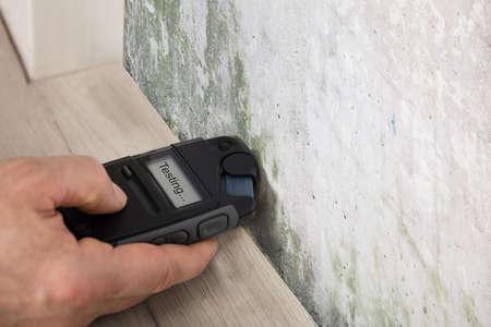 곰팡이 벽에서 젖음을 측정하는 사람 손 스톡 콘텐츠