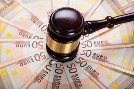 High Angle View Of The Judge Gavel Strike On Euro Banknote Stok Fotoğraf