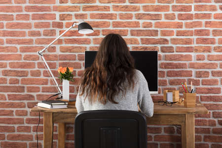 mouse: Rear View Of A Woman Using Computer Stock Photo