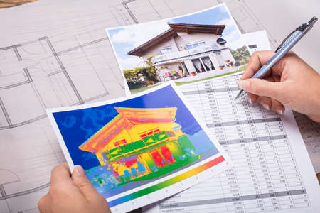 Close-up Of A Architecture Calculating Heat Temperature Stock Photo