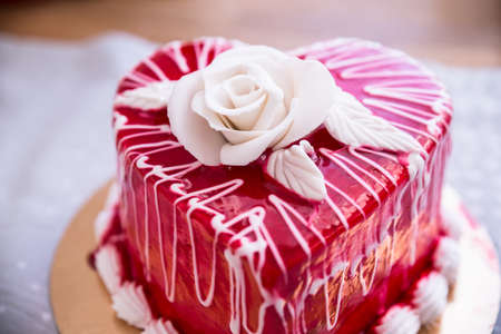 Close-up Of A Delicious Heart Shape Red Cake Stock Photo