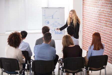 large group of business people: Young Businesswoman Giving Presentation To Her Colleague In Office Stock Photo