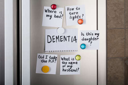 refrigerator: Closeup of dementia note with various reminders attached with magnetic thumbtacks on metal