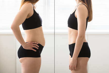 Close-up Of Fat And Slim Woman Standing Opposite To Each Other