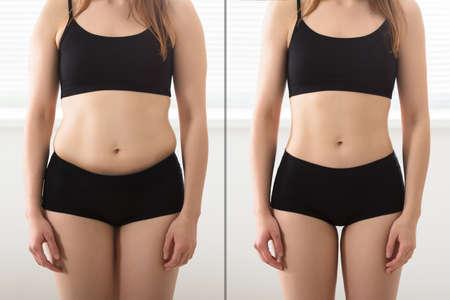 Zbliżenie Tłuszczu I Slim Woman Stojących naprzeciw siebie