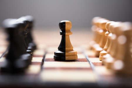 보드 게임에 다른 체스 조각 가운데 이중 색 전당포의 근접 촬영