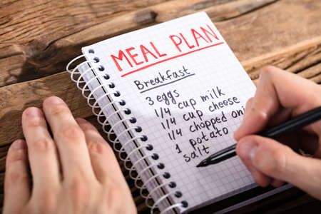 Close-up Of A Persons Hand Making Meal Plan On Notebook At Workplace