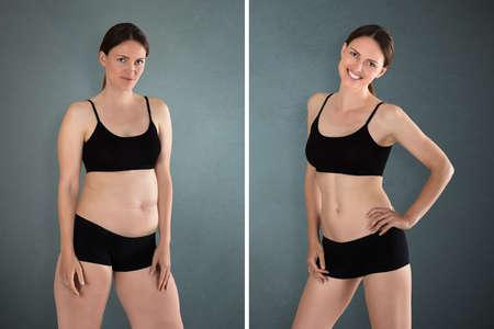 Close-up von Fett und schlanke Frau stehend gegenüber einander Standard-Bild - 84409480