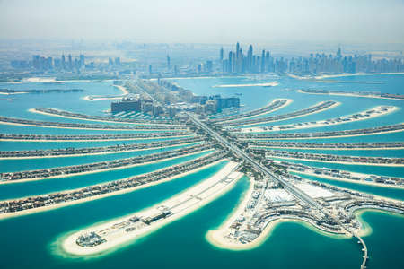 Een kunstmatig Jumeirah Palm Island On Sea, Dubai, Verenigde Arabische Emiraten Stockfoto