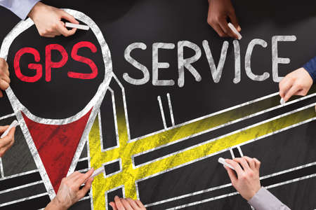 Group Of People Drawing GPS Service Concept
