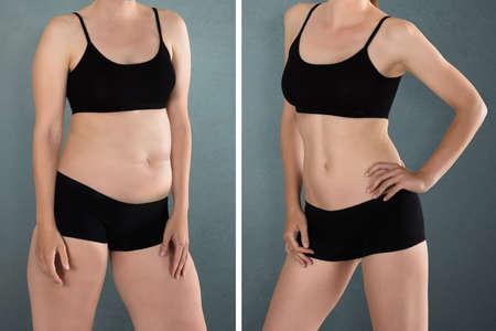 Primer plano de la mujer gorda y delgada que se coloca opuesto el uno al otro