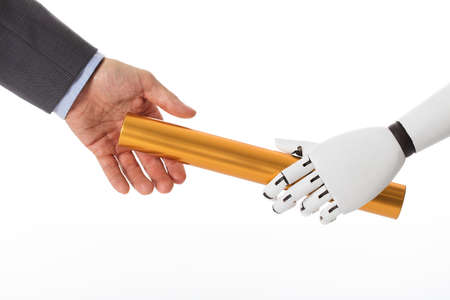 Close-up Of Robot Hand Giving Golden Baton To Businessperson