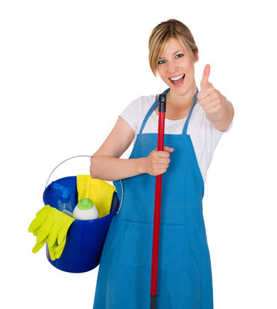 Young Happy Female Janitor With Cleaning Equipments Against White Background