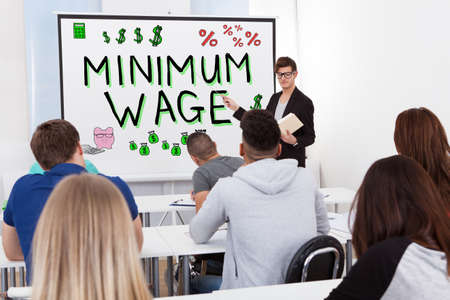 Teacher Giving Minimum Wage Lecture To Students