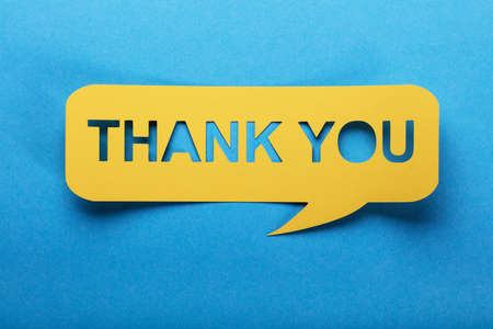 Thank You Text On Yellow Speech Bubble Made Of Paper Reklamní fotografie - 85865063