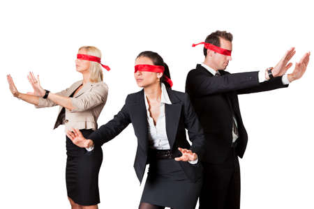 Business People In Blindfolds Against White Background