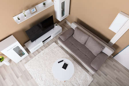 High Angle View Of Living Room Interior