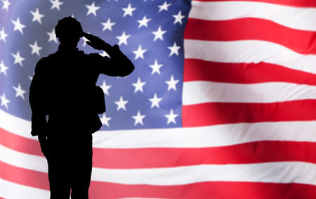 Silhouette Of A Solider Saluting Against The American Flag