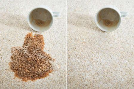 collage de dos imágenes que muestran después y después de la limpieza de alfombras Foto de archivo