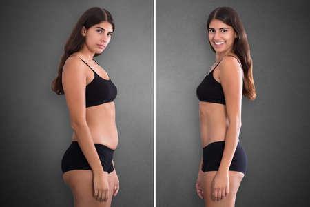Retratos de mujer antes y después del concepto de grasa a delgado de pie contra el fondo gris
