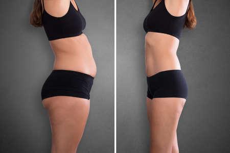 Close-up von Fett und schlanke Frau vor und nach der Diät
