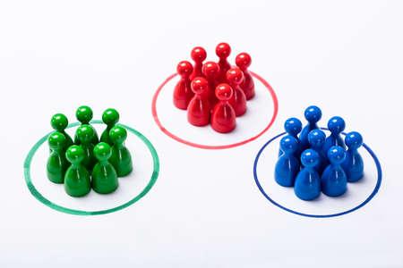 Kleurrijke pionnen in de speciale cirkels. Marktsegmentatieconcept