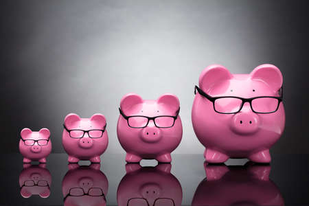 Pink Piggybanks Wearing Eyeglasses Kept In A Row On Grey Background